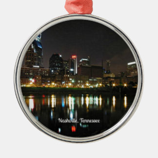 Nashville at Night Silver-Colored Round Ornament