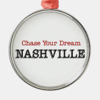 Nashville Chase Your Dream Silver-Colored Round Ornament
