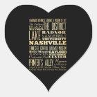 Nashville City of Tennessee State Typography Art Heart Sticker