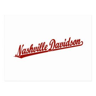 Nashville-Davidson script logo in red Postcard