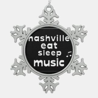 Nashville Eat Sleep Music Pewter Snowflake Ornament