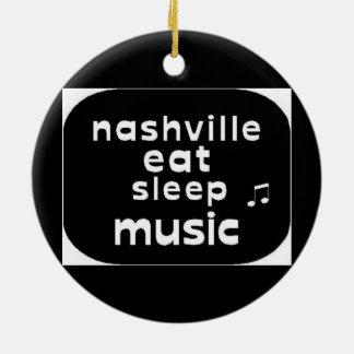 Nashville Eat Sleep Music Round Ceramic Ornament