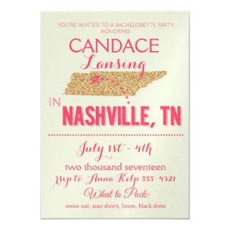 Nashville Gold Bachelorette Party Invitation
