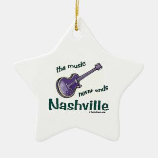 Nashville Guitar Ceramic Star Ornament