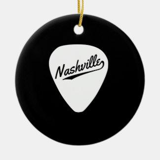 Nashville Guitar Pick Round Ceramic Ornament