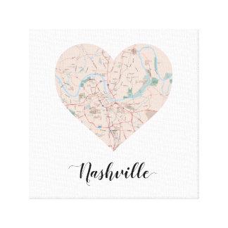Nashville Heart Map Canvas Print