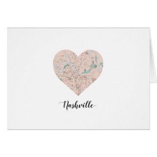 Nashville Heart Map Card