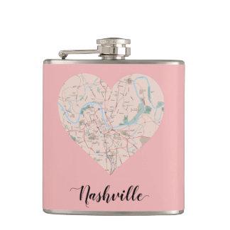 Nashville Heart Map Flasks