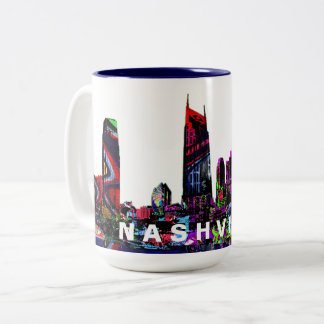 Nashville in graffiti Two-Tone coffee mug