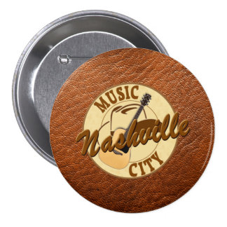 Nashville Music City Round Button