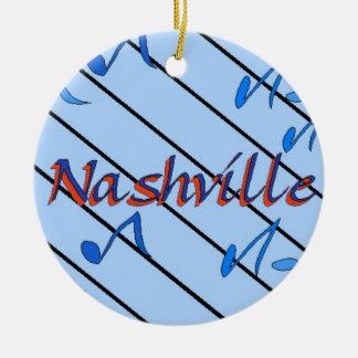 Nashville Notes Blue Round Ceramic Ornament