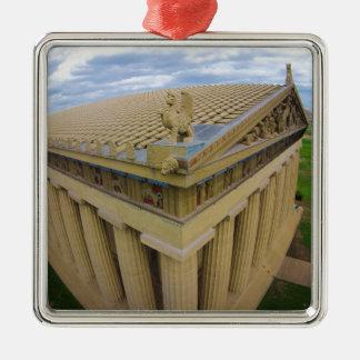 Nashville Parthenon Silver-Colored Square Ornament