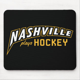 Nashville Plays Hockey Black Mouse Pad
