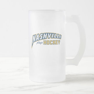 Nashville Plays Hockey Frosted Glass Mug
