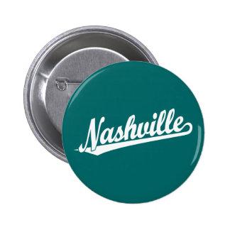 Nashville script logo in white 2 inch round button
