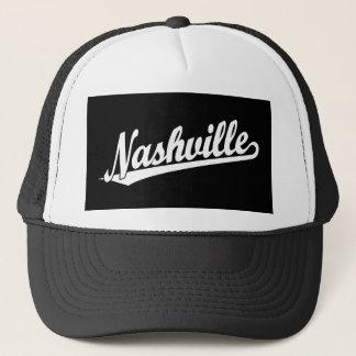 Nashville script logo in white trucker hat