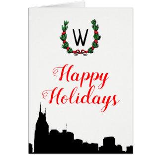 Nashville  Skyline Christmas Happy Holidays Card
