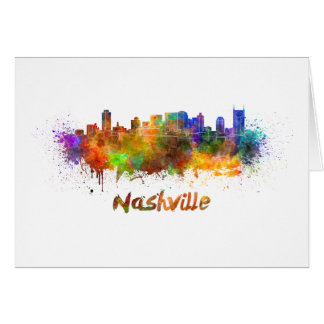 Nashville skyline in watercolor card