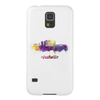 Nashville skyline in watercolor galaxy s5 covers