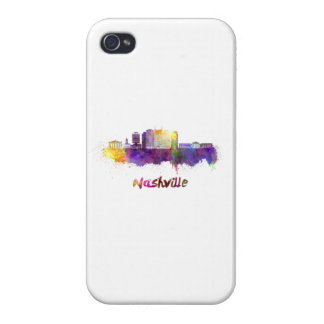 Nashville skyline in watercolor iPhone 4 case