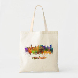 Nashville skyline in watercolor tote bag