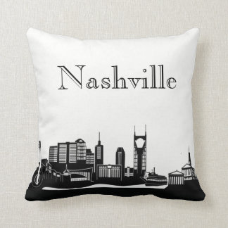 Nashville Skyline Silhouette Front/ Xray Back Throw Pillow