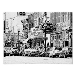 NASHVILLE STREET SCENE -- Digital pen & ink print