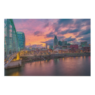Nashville Sunset Wood Print