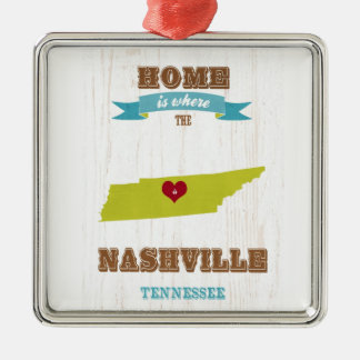 Nashville-Tennessee Map – Home Is Where The Heart Silver-Colored Square Ornament