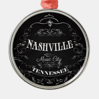 Nashville, Tennessee - Music City Silver-Colored Round Ornament