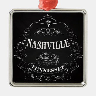Nashville, Tennessee - Music City Silver-Colored Square Ornament