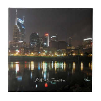 Nashville, Tennessee Skyline at Night Tile