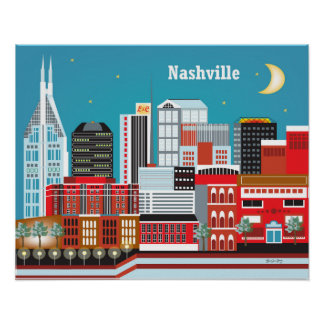 Nashville, Tennessee  - Skyline Illustration Poster