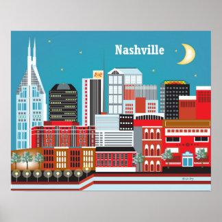 Nashville, Tennessee  - Skyline Illustration Poster