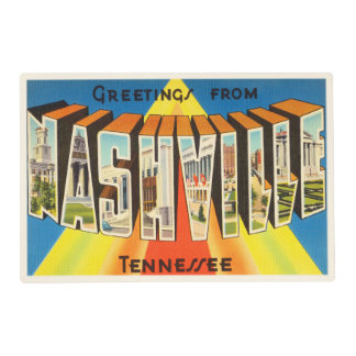 Nashville Tennessee TN Old Vintage Travel Souvenir Laminated Placemat