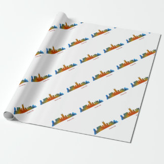 Nashville Tennessee watercolor Skyline art v1 Wrapping Paper