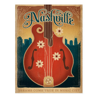 Nashville, TN - Flower Mandolin Postcard