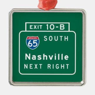 Nashville, TN Road Sign Silver-Colored Square Ornament