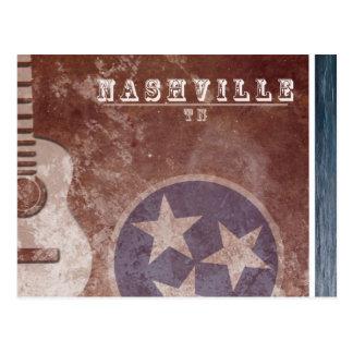 Nashville, TN Vintage Flag Guitar Postcard