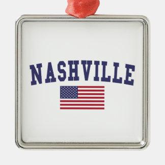 Nashville US Flag Silver-Colored Square Ornament