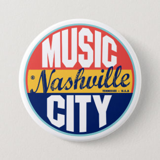 Nashville Vintage Label 3 Inch Round Button
