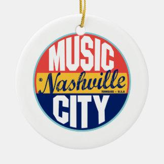 Nashville Vintage Label Round Ceramic Ornament