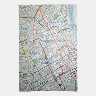 NASHVILLE Vintage Map Kitchen Towel