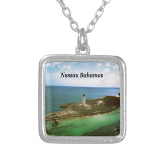 Nassau Bahamas, lighthouse  in harbor Silver Plated Necklace