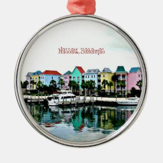 Nassau Bahamas Marina Silver-Colored Round Ornament