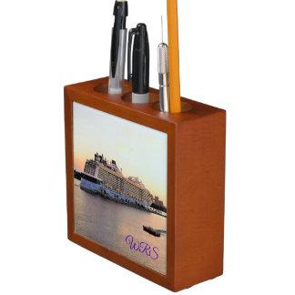 Nassau Daybreak with Cruise Ship Monogrammed Desk Organizer