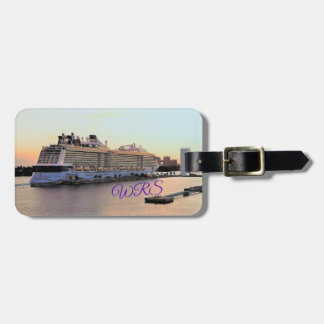 Nassau Harbor Daybreak Cruise Ship Personalized Luggage Tag