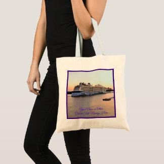 Nassau Harbor Daybreak Cruise Ship Personalized Tote Bag