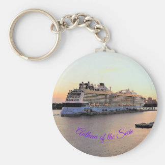 Nassau Harbor Daybreak with Cruise Ship Custom Keychain