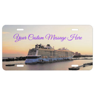 Nassau Harbor Daybreak with Cruise Ship Custom License Plate